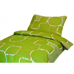 Bavlnené obliečky na dvojlôžko - Zelené s farebnými kruhmi