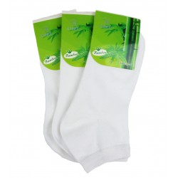 Dámske členkové bambusové ponožky - biele - 3 páry