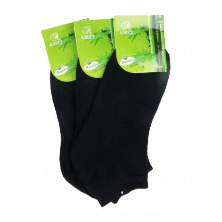 Dámske členkové bambusové ponožky - čierne - 3 páry