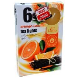 Čajové sviečky - Pomaranč a vanilka - 6 ks - Admit