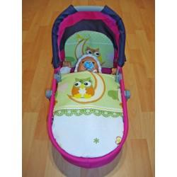 Perinky do kočíka pre bábiky - Sova - zelená - SDS
