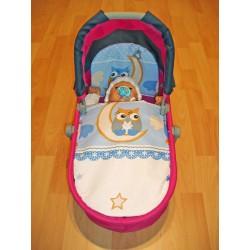 Perinky do kočíka pre bábiky - Sova - modrá - SDS