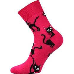 Dámske ponožky - Mačka - magenta - Moda Čapek