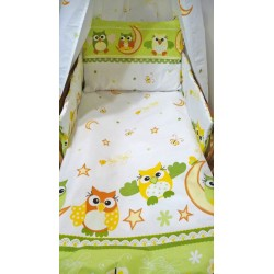 Bavlnené obliečky do postieľky - Sova, zelená