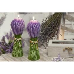 Dekoratívna vonná sviečka - 3D zväzok levandule, plastický dekor, 440g