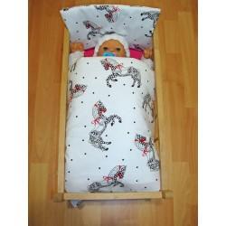 Perinky do postieľky pre bábiky - Koníky, biela