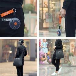 Prenosná skladacia nákupná taška cez rameno s karabínou - čierna
