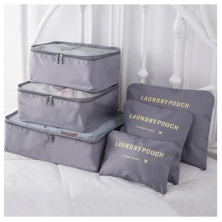 Praktické cestovné tašky a organizéry na cesty, 6 kusov v balení - šedá