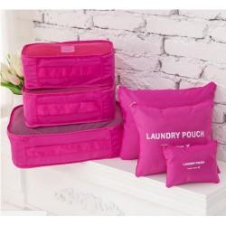 Praktické cestovné tašky a organizéry na cesty, 6 kusov v balení - ružová