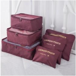 Praktické cestovné tašky a organizéry na cesty, 6 kusov v balení - vínová
