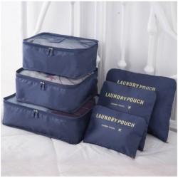 Praktické cestovné tašky a organizéry na cesty, 6 kusov v balení - tmavomodrá