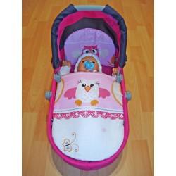 Perinky do kočíka pre bábiky - Sova, ružová
