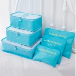 Praktické cestovné tašky a organizéry na cesty - 6 ks - svetlomodré
