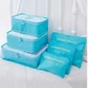 Praktické cestovné tašky a organizéry na cesty, 6 kusov v balení - svetlomodrá