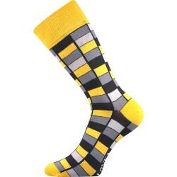 Unisex ponožky - Crazy mozaika, žlté