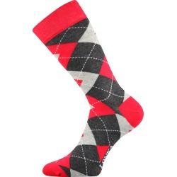 Unisex ponožky - Crazy káro - červené - Lonka