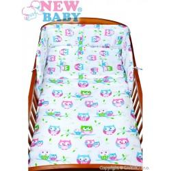 Dvojdielne detské obliečky - biele so sovou - 135 x 100 - New Baby
