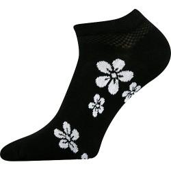 Dámske členkové ponožky - s bielymi kvetmi