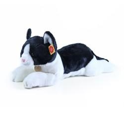 Plyšová ležiaca mačka - čiernobiela - 35 cm - Rappa