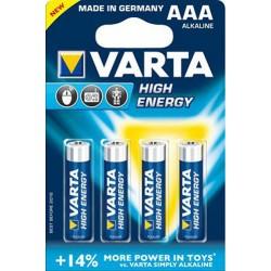 Alkalické batérie High Energy LR03 - 4x AAA - 1,5V - Varta