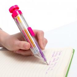 Farebné guľôčkové pero s trblietkami - dúhové
