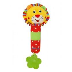 Detská pískacia plyšová hračka s hrkálkou - levica - Baby Mix