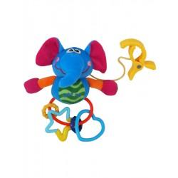 Detská plyšová hračka s hrkálkou - sloník - Baby Mix