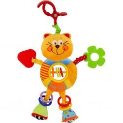 Detská plyšová hračka s hrkálkou - mačička - Baby Mix