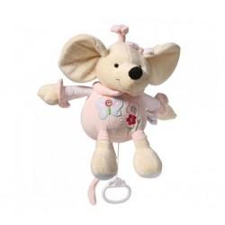 Detská plyšová hračka s hracím strojčekom - ružová myška - Baby Ono