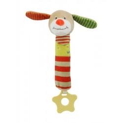 Detská pískacia plyšová hračka s hryzátkom - psík - Baby Mix