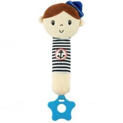 Detská pískacia plyšová hračka s hryzátkom - námorník - Baby Mix