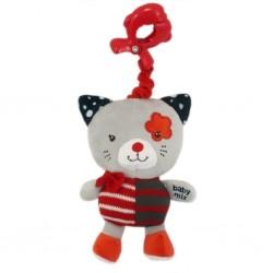 Detská plyšová hračka s hracím strojčekom - červená mačička - Baby Mix