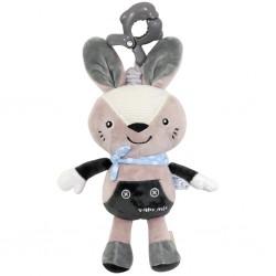 Detská plyšová hračka s hracím strojčekom - šedý králiček - Baby Mix