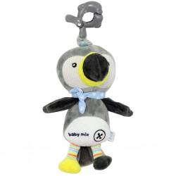 Detská plyšová hračka s hracím strojčekom - šedý tukan - Baby Mix