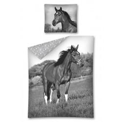 Detská obliečka - Kôň - čiernobiela - 140x200