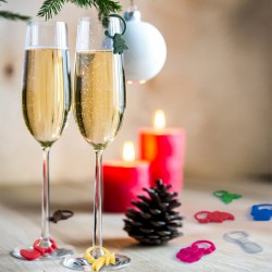 Vianočný rozlišovač pohárov - farebný - 9 ks