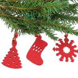Sada vianočných dekorácií - červená - 9 ks