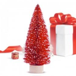 Vianočný stromček - červený - 12,5 x 5 x 5 cm