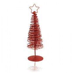 Vianočný stromček s hviezdou - červený - 25 x 7 x 7 cm