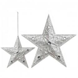Vianočná ozdoba - hviezdička strieborná - 10 cm - 3 ks