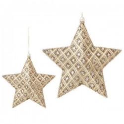 Vianočná ozdoba - hviezdička zlatá - 18 cm - 3 ks