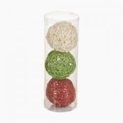 Vianočné banky - červená, zelená, biela - 3 ks