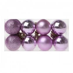 Vianočné banky - fialové - 4 cm - 16 ks