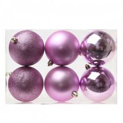 Vianočné banky - fialové - 8 cm - 6 ks