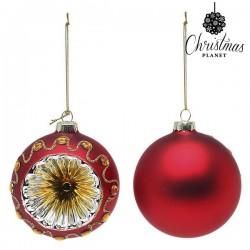 Vianočné banky sklenené - červené - 8 cm - 2 ks