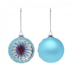 Vianočné banky sklenené - modré - 8 cm - 2 ks
