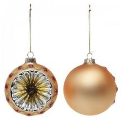 Vianočné banky sklenené - zlaté - 8 cm - 2 ks
