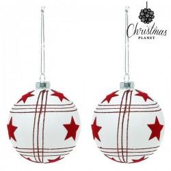Vianočné banky sklenené - biele s hviezdami - 8 cm - 2 ks