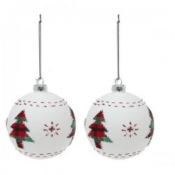 Vianočné banky sklenené - biele so stromčekom - 8 cm - 2 ks