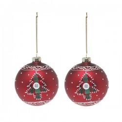Vianočné banky sklenené - červené so stromčekom - 8 cm - 2 ks
